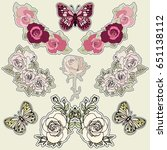 set of roses and butterfly... | Shutterstock .eps vector #651138112