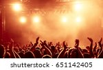 silhouettes of concert crowd in ... | Shutterstock . vector #651142405