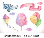 watercolor air. kite  airplane  ... | Shutterstock .eps vector #651144805
