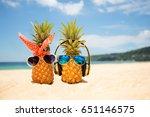 couple of attractive pineapples ...   Shutterstock . vector #651146575