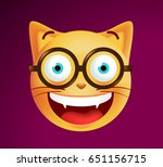 cute emoticon cat with glasses... | Shutterstock .eps vector #651156715