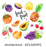 hand drawn watercolor colorful... | Shutterstock . vector #651160492