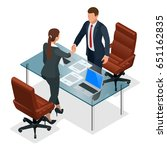 businesspeople handshaking... | Shutterstock .eps vector #651162835