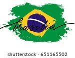 brazil flag painted calligraphy ...   Shutterstock .eps vector #651165502