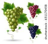 photo realistic grape set. full ... | Shutterstock .eps vector #651170458