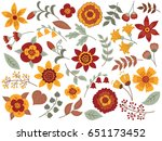 vector autumn floral set.... | Shutterstock .eps vector #651173452