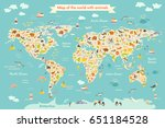 map animal for kid. continent... | Shutterstock . vector #651184528