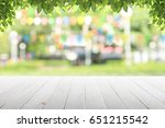 empty wooden table with party... | Shutterstock . vector #651215542