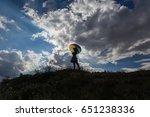 umbrella and pretty girl... | Shutterstock . vector #651238336