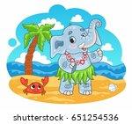 cartoon cute vector elephant... | Shutterstock .eps vector #651254536