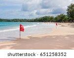 no swimming flag warning on... | Shutterstock . vector #651258352