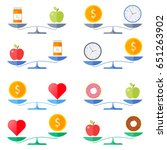 scales with coin and heart ... | Shutterstock .eps vector #651263902