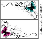ornament with butterfly   Shutterstock .eps vector #651282832