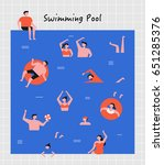 hot summer swimming people... | Shutterstock .eps vector #651285376
