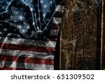 usa flag on a wood surface | Shutterstock . vector #651309502