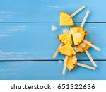 slice pineapple popsicle sticks ...   Shutterstock . vector #651322636