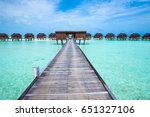 tropical beach in maldives with ... | Shutterstock . vector #651327106