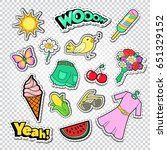 teenager girl fashion stickers  ... | Shutterstock .eps vector #651329152