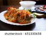 spicy karp fish fried in sauce... | Shutterstock . vector #651330658