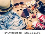 travel clothing accessories... | Shutterstock . vector #651331198