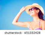 young woman by the sea | Shutterstock . vector #651332428