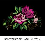 colorful embroidery on a black... | Shutterstock .eps vector #651337942