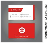 red and white business card   Shutterstock .eps vector #651348202