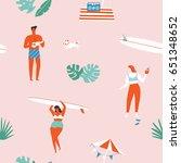 summer beach seamless pattern... | Shutterstock .eps vector #651348652