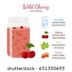 cherry smoothie  organic recipe ... | Shutterstock . vector #651350695