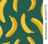 seamless hand drawn banana... | Shutterstock .eps vector #651357772