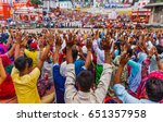 thousands of hindu pilgrims ... | Shutterstock . vector #651357958