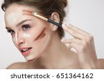 beauty makeup. portrait of... | Shutterstock . vector #651364162