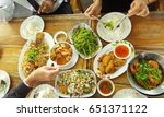 top view of friends eating thai ... | Shutterstock . vector #651371122