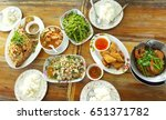 top view of friends eating thai ... | Shutterstock . vector #651371782