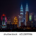 Small photo of KUALA LUMPUR, MALAYSIA - January 1 2017 : Petronas Twin Tower during new years eve of 2017. The tallest twin towers stand at 451.9m