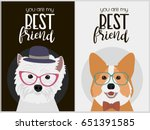 hipster dog card for birthday... | Shutterstock .eps vector #651391585
