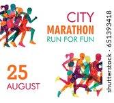 running marathon  people run ...   Shutterstock .eps vector #651393418