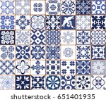 blue portuguese tiles pattern   ... | Shutterstock .eps vector #651401935