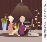 modern elderly people and... | Shutterstock .eps vector #651414376