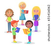 group of schoolchildren... | Shutterstock .eps vector #651416062