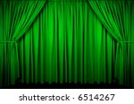 Large Green Curtain With Spot...