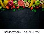 set of fresh fruits. healthy... | Shutterstock . vector #651433792