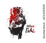 muslim man hugging and wishing... | Shutterstock .eps vector #651435505