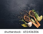 a set of fragrant spices. a... | Shutterstock . vector #651436306