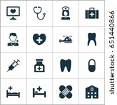 drug icons set. collection of... | Shutterstock .eps vector #651440866