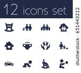 set of 12 relatives icons set... | Shutterstock .eps vector #651443212