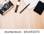 top view of the working space... | Shutterstock . vector #651451072