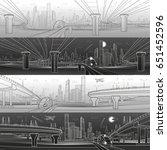 infrastructure panorama set.... | Shutterstock .eps vector #651452596