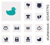 set of 12 kid icons set... | Shutterstock .eps vector #651457792