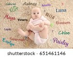 Small photo of Baby names concept. Cute little girl lying on carpet